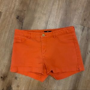 H & M Bright Orange Jean Shorts Size 8